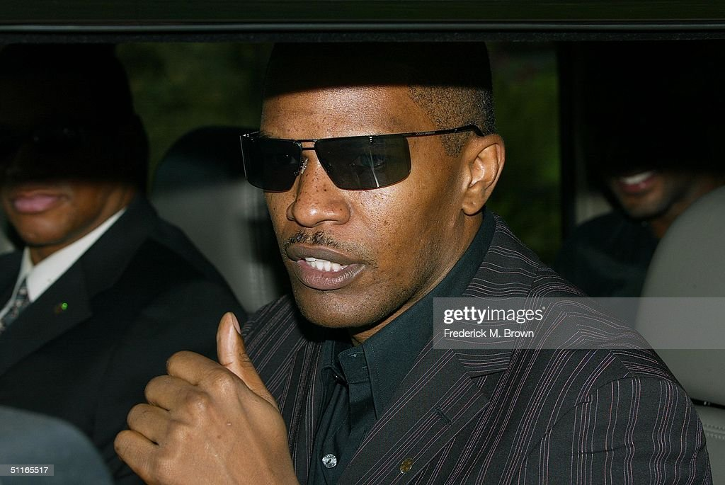 Actor <a gi-track='captionPersonalityLinkClicked' href=/galleries/search?phrase=Jamie+Foxx&family=editorial&specificpeople=201715 ng-click='$event.stopPropagation()'>Jamie Foxx</a> attends the funeral service for the late recording artist Rick James at Forest Lawn Cemetery on August 12, 2004 in Los Angeles, California. (Photo by Frederick M. Brown/Getty Images).