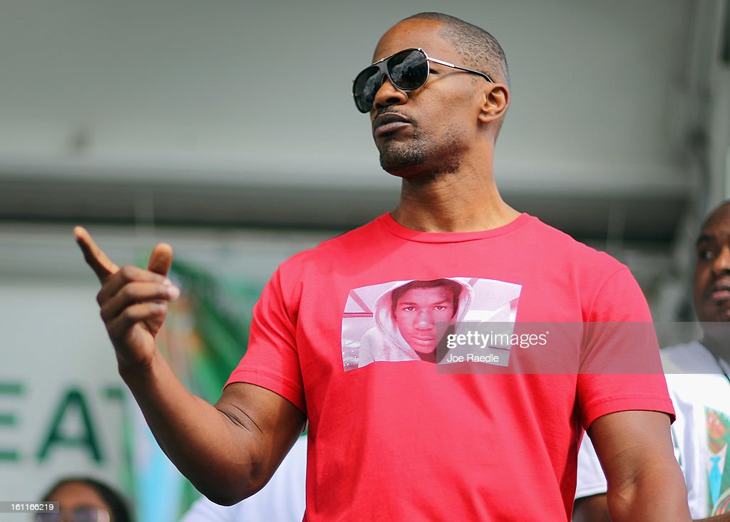 Actor Jamie Foxx attends the 'March for Peace' at Ives Estate Park in honor of Trayvon Martin on February 9, 2013 in Miami, Florida. Trayvon Martin was killed by George Zimmerman on February 26, 2012 while Zimmerman was on neighborhood watch patrol in the gated community of The Retreat at Twin Lakes in Sanford, Florida.