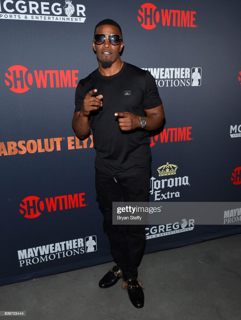 Actor Jamie Foxx attends the Showtime, WME IME and Mayweather Promotions VIP Pre-Fight party for Mayweather vs. McGregor at T-Mobile Arena on August 26, 2017 in Las Vegas, Nevada.