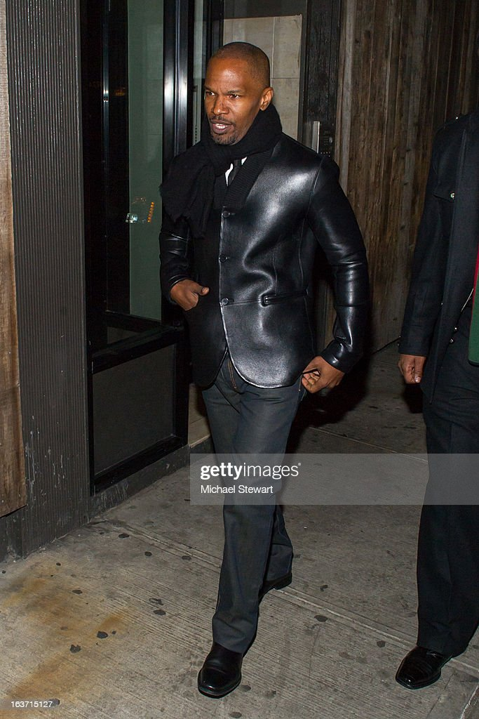 Actor <a gi-track='captionPersonalityLinkClicked' href=/galleries/search?phrase=Jamie+Foxx&family=editorial&specificpeople=201715 ng-click='$event.stopPropagation()'>Jamie Foxx</a> attends Timbaland's Birthday Celebration at Southern Hospitality on March 14, 2013 in New York City.