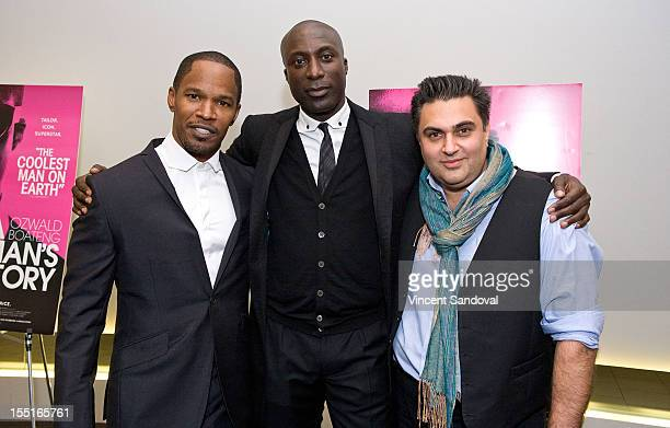 Actor Jamie Foxx British fashion designer Ozwald Boateng and Director Varon Bonicos attend the Los Angeles Premiere of 'A Man's Story' at WME...