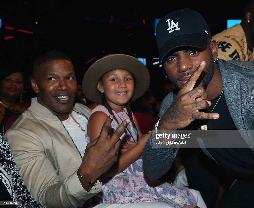Actor <a gi-track='captionPersonalityLinkClicked' href=/galleries/search?phrase=Jamie+Foxx&family=editorial&specificpeople=201715 ng-click='$event.stopPropagation()'>Jamie Foxx</a>, daughter <a gi-track='captionPersonalityLinkClicked' href=/galleries/search?phrase=Annalise+Bishop&family=editorial&specificpeople=10846979 ng-click='$event.stopPropagation()'>Annalise Bishop</a> and singer-songwriter <a gi-track='captionPersonalityLinkClicked' href=/galleries/search?phrase=Bryson+Tiller&family=editorial&specificpeople=15090580 ng-click='$event.stopPropagation()'>Bryson Tiller</a> attend the 2016 BET Awards at the Microsoft Theater on June 26, 2016 in Los Angeles, California.