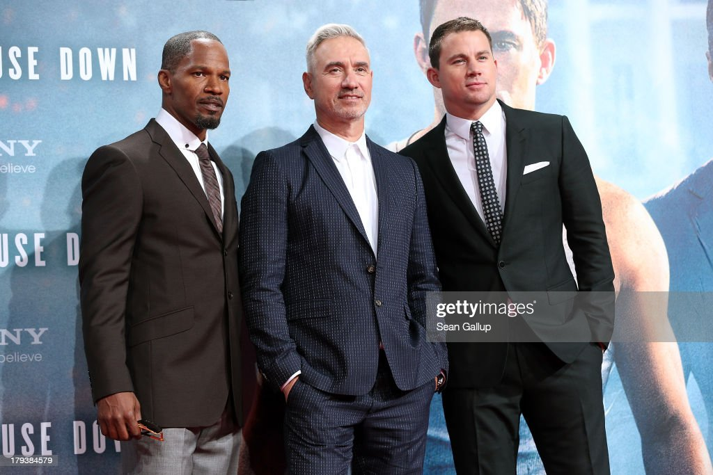 Actor <a gi-track='captionPersonalityLinkClicked' href=/galleries/search?phrase=Jamie+Foxx&family=editorial&specificpeople=201715 ng-click='$event.stopPropagation()'>Jamie Foxx</a>, director <a gi-track='captionPersonalityLinkClicked' href=/galleries/search?phrase=Roland+Emmerich&family=editorial&specificpeople=242986 ng-click='$event.stopPropagation()'>Roland Emmerich</a> and actor <a gi-track='captionPersonalityLinkClicked' href=/galleries/search?phrase=Channing+Tatum&family=editorial&specificpeople=549548 ng-click='$event.stopPropagation()'>Channing Tatum</a> attend the 'White House Down' Germany premiere at CineStar on September 2, 2013 in Berlin, Germany.
