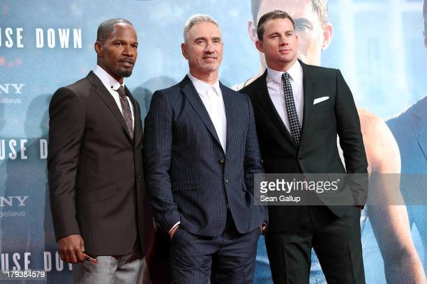 Actor Jamie Foxx director Roland Emmerich and actor Channing Tatum attend the 'White House Down' Germany premiere at CineStar on September 2 2013 in...