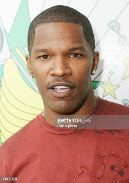 Actor Jamie Foxx poses backstage after an appearance on MTV's Total Request Live to promote his new film ''Miami Vice'' at MTV Studios July 24 2006...