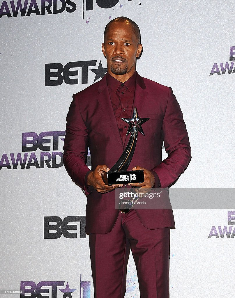 Actor <a gi-track='captionPersonalityLinkClicked' href=/galleries/search?phrase=Jamie+Foxx&family=editorial&specificpeople=201715 ng-click='$event.stopPropagation()'>Jamie Foxx</a> poses in the press room at the 2013 BET Awards at Nokia Theatre L.A. Live on June 30, 2013 in Los Angeles, California.