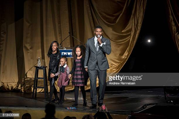 Actor Jamie Foxx speaks on stage during a fundraiser for Democratic presidential candidate Hillary Clinton at Radio City Music Hall on March 2 2016...