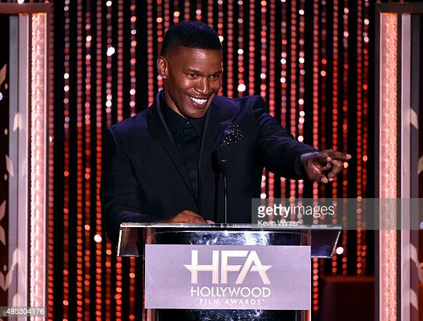 Actor Jamie Foxx speaks onstage during the 19th Annual Hollywood Film Awards at The Beverly Hilton Hotel on November 1 2015 in Beverly Hills...