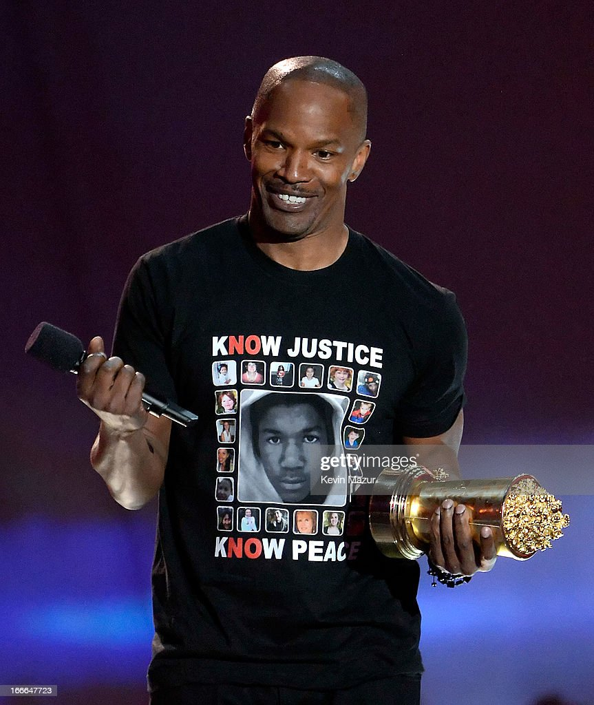 Actor <a gi-track='captionPersonalityLinkClicked' href=/galleries/search?phrase=Jamie+Foxx&family=editorial&specificpeople=201715 ng-click='$event.stopPropagation()'>Jamie Foxx</a> speaks onstage during the 2013 MTV Movie Awards at Sony Pictures Studios on April 14, 2013 in Culver City, California.