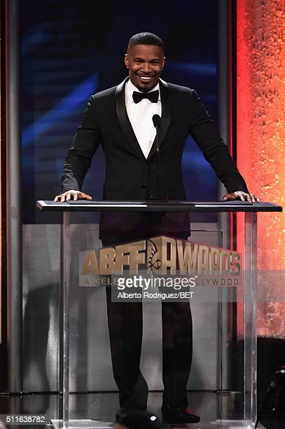 Actor Jamie Foxx speaks onstage during the 2016 ABFF Awards A Celebration Of Hollywood at The Beverly Hilton Hotel on February 21 2016 in Beverly...