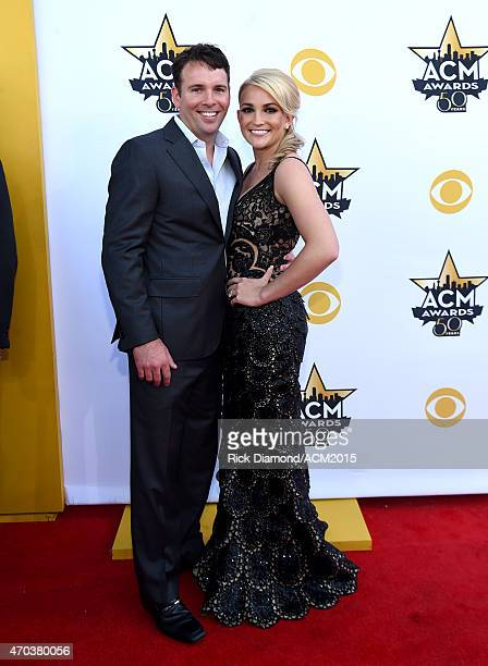 Actor Jamie Watson and actress/recording artist Jamie Lynn Spears attend the 50th Academy of Country Music Awards at ATT Stadium on April 19 2015 in...