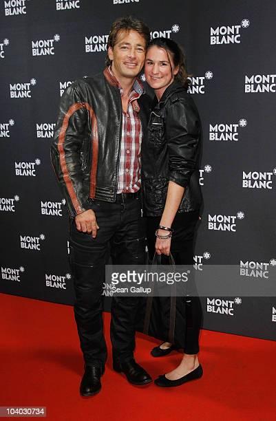 Actor Jan Sosniok and Nadine Moellers attend the Montblanc John Lennon Edition Pen Launch Party at Spindler Klatt on September 12 2010 in Berlin...