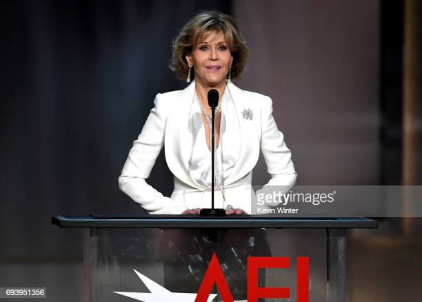 Actor Jane Fonda speaks onstage during American Film Institute's 45th Life Achievement Award Gala Tribute to Diane Keaton at Dolby Theatre on June 8...
