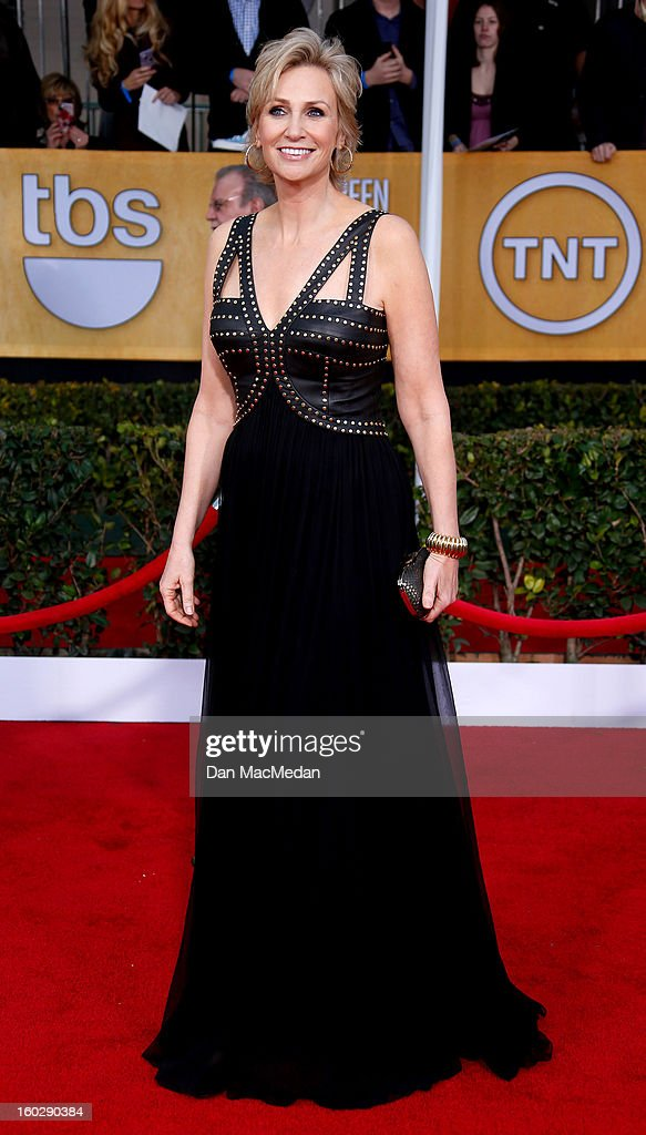 Actor Jane Lynch arrives at the 19th Annual Screen Actors Guild Awards at the Shrine Auditorium on January 27, 2013 in Los Angeles, California.