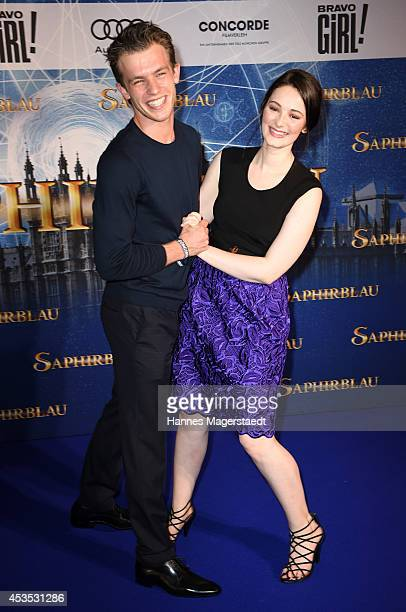 Actor Jannis Niewoehner and Maria Ehrich attend the Munich premiere of the film 'Saphirblau' at Mathaeser Filmpalast on August 12 2014 in Munich...