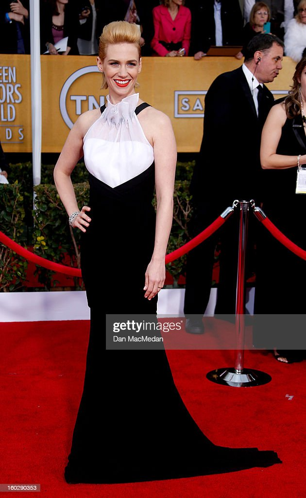 Actor January Jones arrives at the 19th Annual Screen Actors Guild Awards at the Shrine Auditorium on January 27, 2013 in Los Angeles, California.