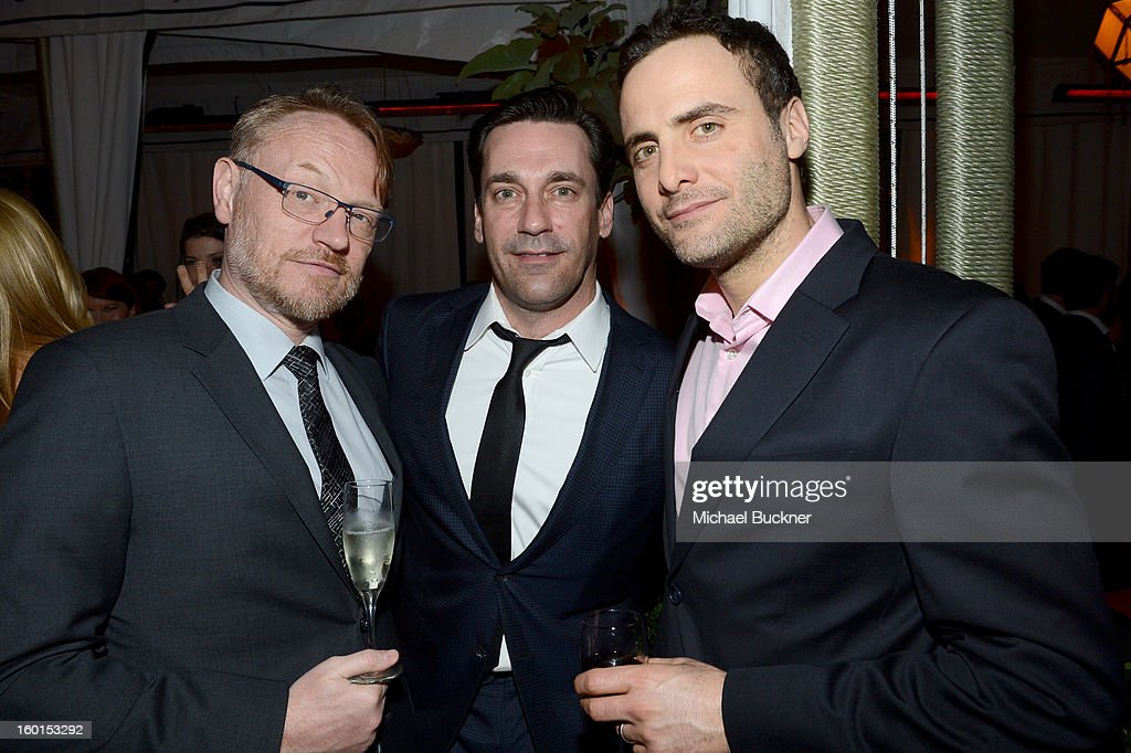 Actor <a gi-track='captionPersonalityLinkClicked' href=/galleries/search?phrase=Jared+Harris&family=editorial&specificpeople=228170 ng-click='$event.stopPropagation()'>Jared Harris</a>, actor <a gi-track='captionPersonalityLinkClicked' href=/galleries/search?phrase=Jon+Hamm&family=editorial&specificpeople=3027367 ng-click='$event.stopPropagation()'>Jon Hamm</a> and guest attend the Entertainment Weekly Pre-SAG Party hosted by Essie and Audi held at Chateau Marmont on January 26, 2013 in Los Angeles, California.