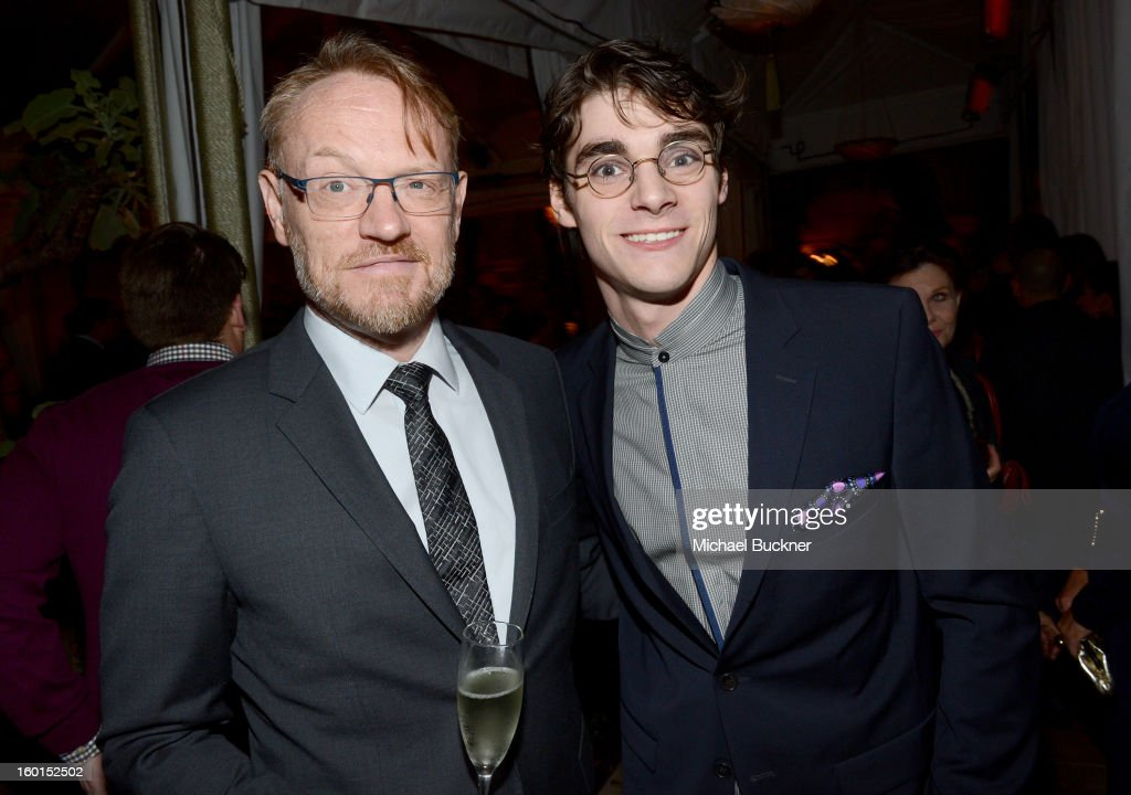 Actor <a gi-track='captionPersonalityLinkClicked' href=/galleries/search?phrase=Jared+Harris&family=editorial&specificpeople=228170 ng-click='$event.stopPropagation()'>Jared Harris</a> (L) and actor <a gi-track='captionPersonalityLinkClicked' href=/galleries/search?phrase=RJ+Mitte&family=editorial&specificpeople=4542119 ng-click='$event.stopPropagation()'>RJ Mitte</a> attend the Entertainment Weekly Pre-SAG Party hosted by Essie and Audi held at Chateau Marmont on January 26, 2013 in Los Angeles, California.