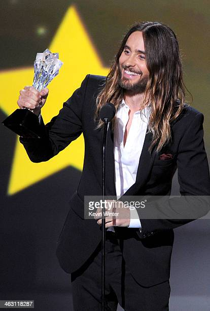 Actor Jared Leto accepts the Best Supporting Actor award for 'Dallas Buyers Club' onstage during the 19th Annual Critics' Choice Movie Awards at...