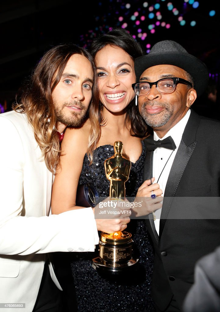 Actor Jared Leto, actress Rosario Dawson, and director Spike Lee attend the 2014 Vanity Fair Oscar Party Hosted By Graydon Carter on March 2, 2014 in West Hollywood, California.
