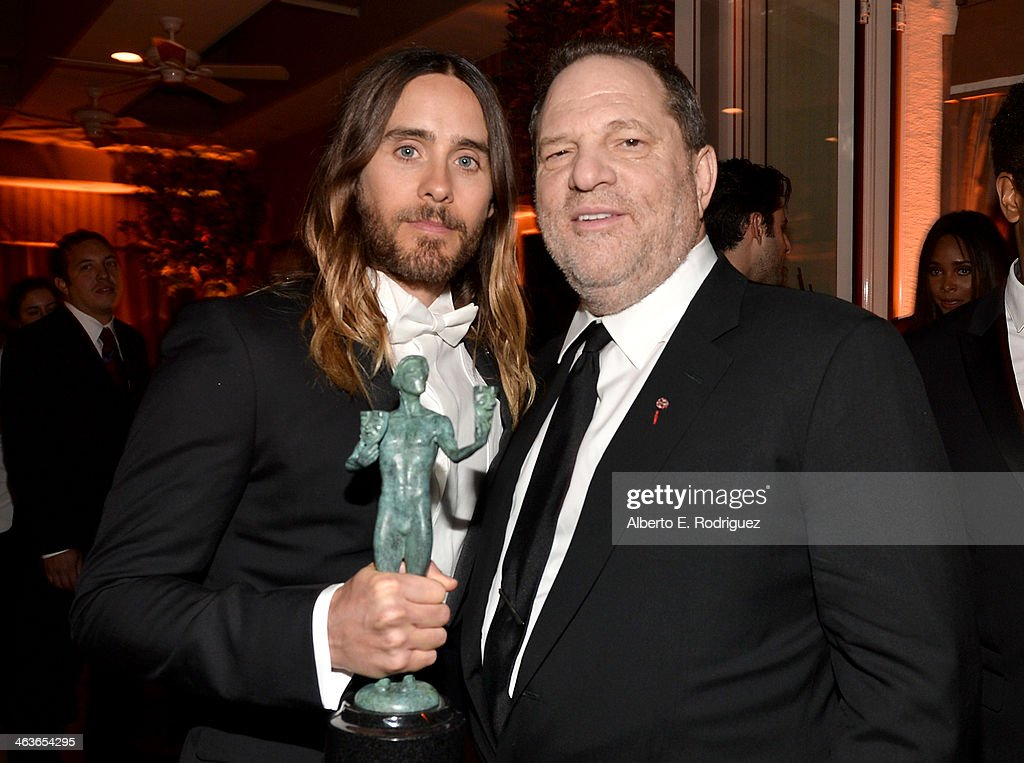 Actor <a gi-track='captionPersonalityLinkClicked' href=/galleries/search?phrase=Jared+Leto&family=editorial&specificpeople=214764 ng-click='$event.stopPropagation()'>Jared Leto</a> (L) and producer <a gi-track='captionPersonalityLinkClicked' href=/galleries/search?phrase=Harvey+Weinstein&family=editorial&specificpeople=201749 ng-click='$event.stopPropagation()'>Harvey Weinstein</a> attend the Weinstein Company & Netflix's 2014 SAG after party in partnership with Laura Mercier at Sunset Tower on January 18, 2014 in West Hollywood, California.