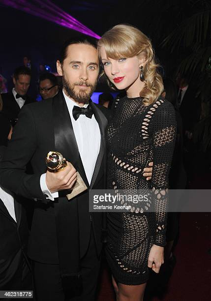 Actor Jared Leto and singer Taylor Swift attend the 2014 InStyle And Warner Bros 71st Annual Golden Globe Awards PostParty at The Beverly Hilton...