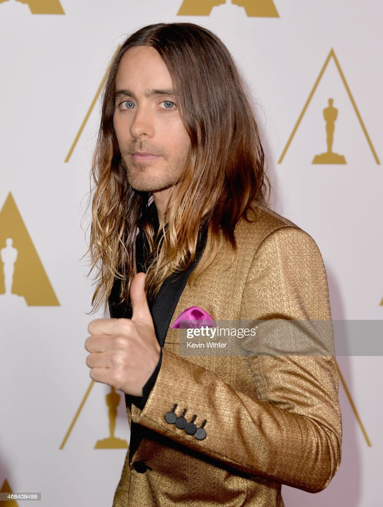 Actor <a gi-track='captionPersonalityLinkClicked' href=/galleries/search?phrase=Jared+Leto&family=editorial&specificpeople=214764 ng-click='$event.stopPropagation()'>Jared Leto</a> attends the 86th Academy Awards nominee luncheon at The Beverly Hilton Hotel on February 10, 2014 in Beverly Hills, California.
