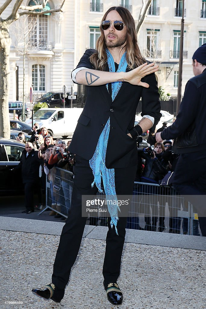 Actor <a gi-track='captionPersonalityLinkClicked' href=/galleries/search?phrase=Jared+Leto&family=editorial&specificpeople=214764 ng-click='$event.stopPropagation()'>Jared Leto</a> attends the Miu Miu show as part of the Paris Fashion Week Womenswear Fall/Winter 2014-2015 on March 5, 2014 in Paris, France.