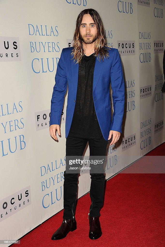 Actor Jared Leto attends the premiere of 'Dallas Buyers Club' at the Academy of Motion Picture Arts and Sciences on October 17 2013 in Beverly Hills...