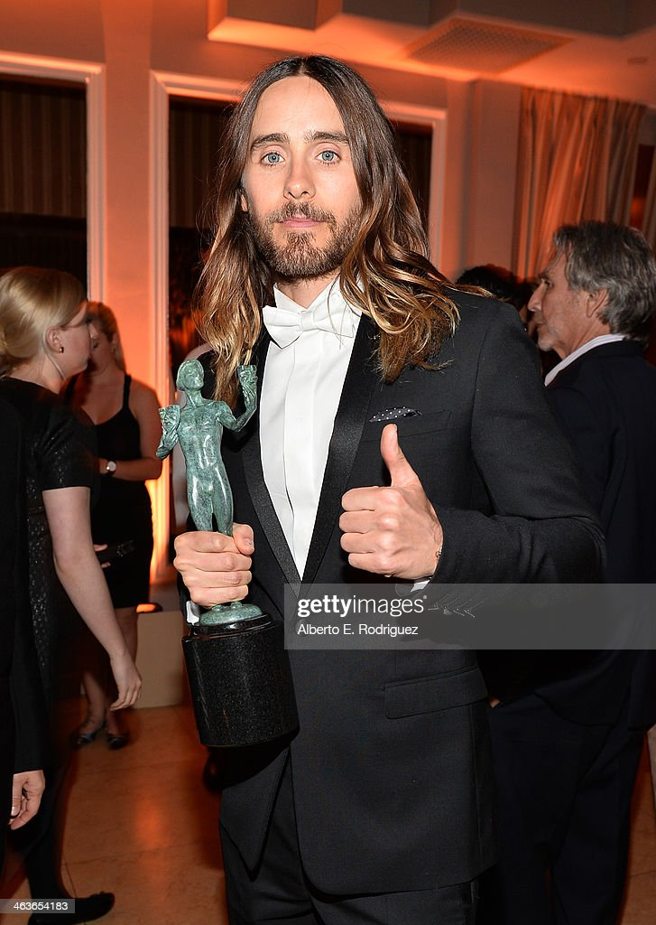 Actor <a gi-track='captionPersonalityLinkClicked' href=/galleries/search?phrase=Jared+Leto&family=editorial&specificpeople=214764 ng-click='$event.stopPropagation()'>Jared Leto</a> attends the Weinstein Company & Netflix's 2014 SAG after party in partnership with Laura Mercier at Sunset Tower on January 18, 2014 in West Hollywood, California.