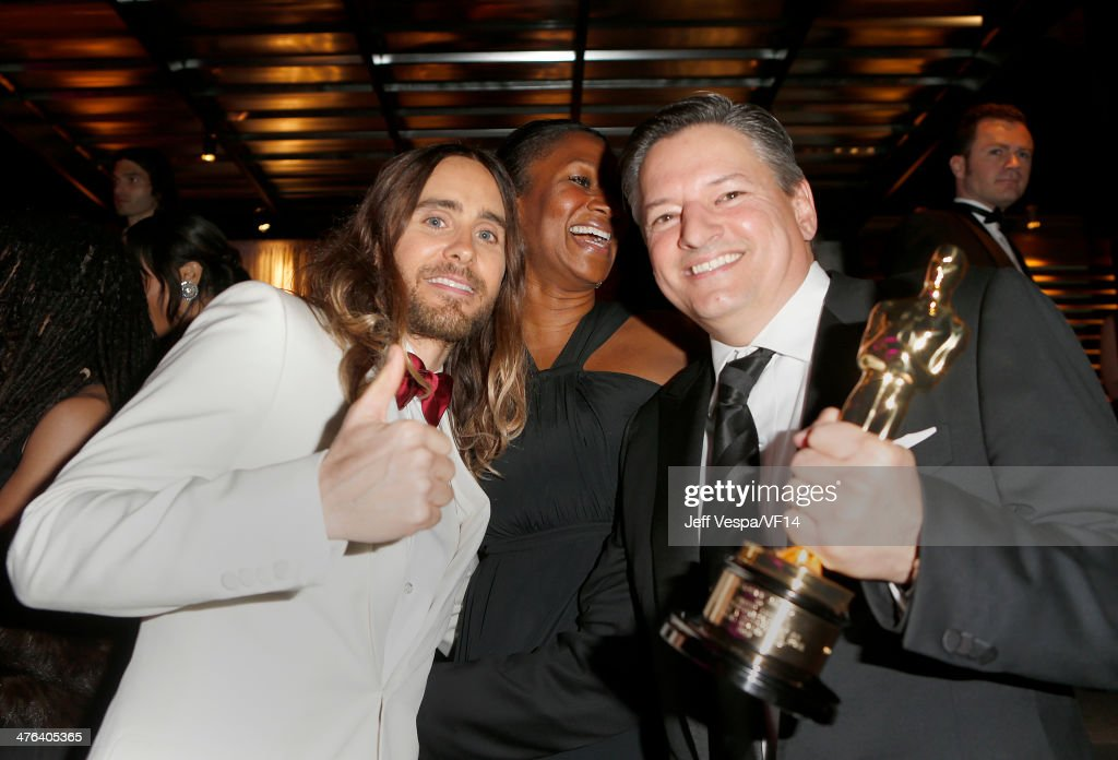 Actor <a gi-track='captionPersonalityLinkClicked' href=/galleries/search?phrase=Jared+Leto&family=editorial&specificpeople=214764 ng-click='$event.stopPropagation()'>Jared Leto</a>, former US Ambassador to The Bahamas Nicole Avant and Netflix Chief Content Officer <a gi-track='captionPersonalityLinkClicked' href=/galleries/search?phrase=Ted+Sarandos&family=editorial&specificpeople=2137714 ng-click='$event.stopPropagation()'>Ted Sarandos</a> attend the 2014 Vanity Fair Oscar Party Hosted By Graydon Carter on March 2, 2014 in West Hollywood, California.