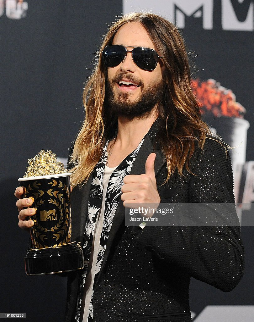 Actor Jared Leto poses in the press room at the 2014 MTV Movie Awards at Nokia Theatre L.A. Live on April 13, 2014 in Los Angeles, California.