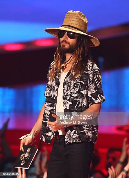 Actor Jared Leto speaks onstage at the 2014 MTV Movie Awards at Nokia Theatre LA Live on April 13 2014 in Los Angeles California