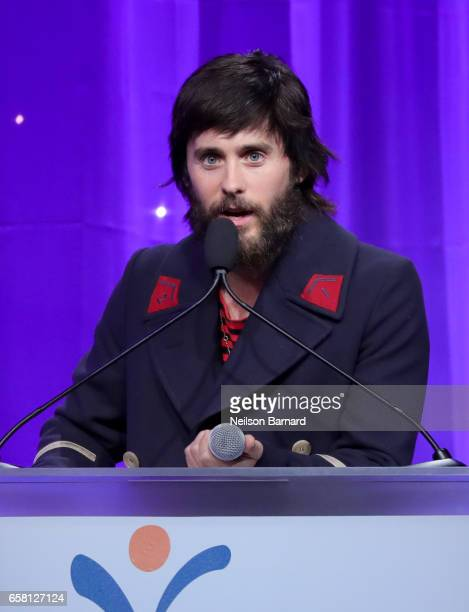 Actor Jared Leto speaks onstage at the Venice Family Clinic Silver Circle Gala 2017 honoring Sue Kroll and Dr Jimmy H Hara at The Beverly Hilton...