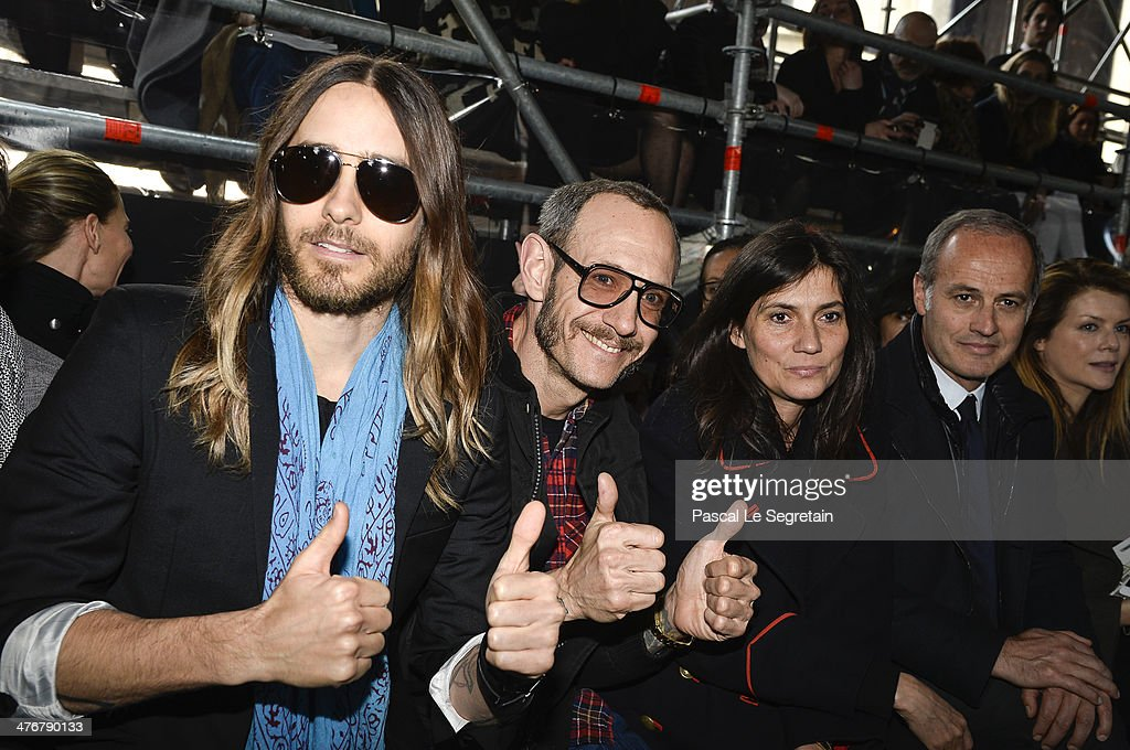 Actor <a gi-track='captionPersonalityLinkClicked' href=/galleries/search?phrase=Jared+Leto&family=editorial&specificpeople=214764 ng-click='$event.stopPropagation()'>Jared Leto</a>, <a gi-track='captionPersonalityLinkClicked' href=/galleries/search?phrase=Terry+Richardson&family=editorial&specificpeople=758714 ng-click='$event.stopPropagation()'>Terry Richardson</a>, <a gi-track='captionPersonalityLinkClicked' href=/galleries/search?phrase=Emmanuelle+Alt&family=editorial&specificpeople=758682 ng-click='$event.stopPropagation()'>Emmanuelle Alt</a> and Xavier Romatet attend the Miu Miu show as part of the Paris Fashion Week Womenswear Fall/Winter 2014-2015 on March 5, 2014 in Paris, France.