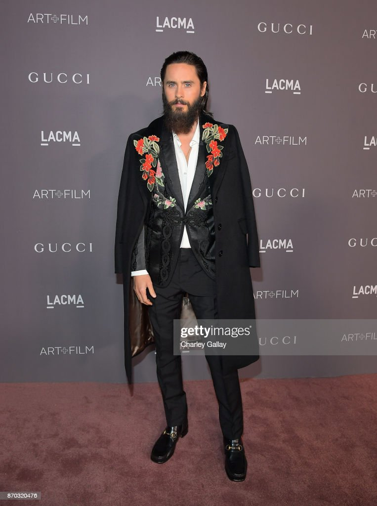 Actor Jared Leto, wearing Gucci, attends the 2017 LACMA Art + Film Gala Honoring Mark Bradford and George Lucas presented by Gucci at LACMA on November 4, 2017 in Los Angeles, California.