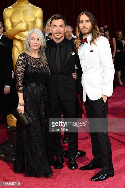 Actor Jared Leto with mother Constance Leto and brother Shannon Leto attend the Oscars held at Hollywood Highland Center on March 2 2014 in Hollywood...