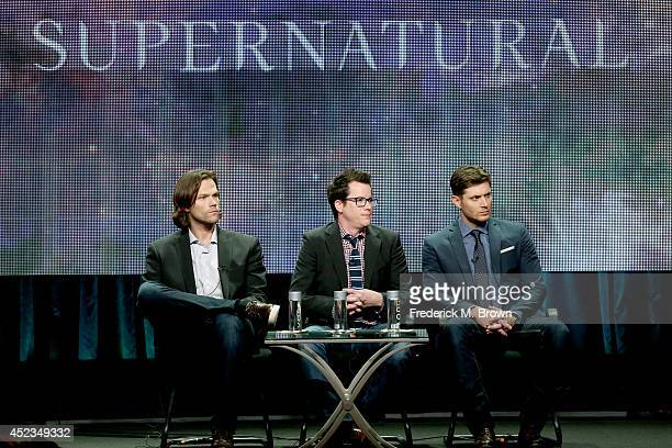 Actor Jared Padalecki producer Jeremy Carver and actor Jensen Ackles speak onstage at the 'Supernatural' panel during the CW Network portion of the...