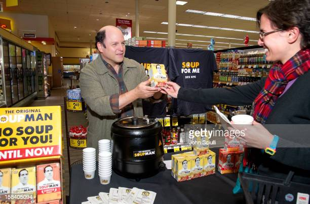 Actor Jason Alexander stirs up the soup aisle by handing out samples of the Original SoupMan soup the inspiration for the famous 'Seinfeld' episode...