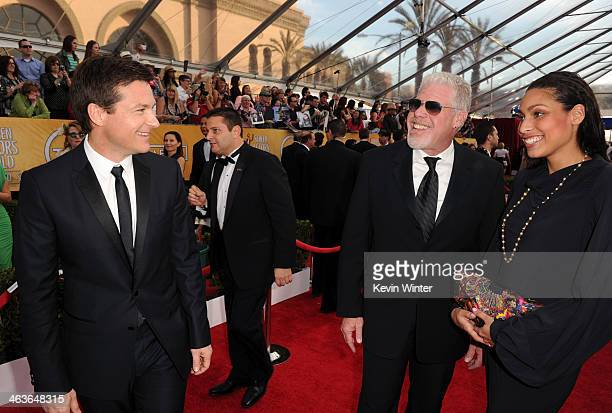 Actor Jason Bateman and actor Ron Perlman and daughter Blake Perlman attend 20th Annual Screen Actors Guild Awards at The Shrine Auditorium on...