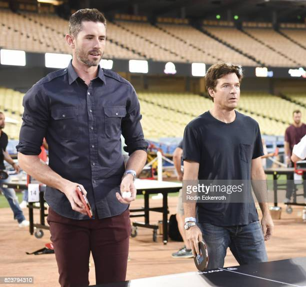 Actor Jason Bateman and baseball player Brandon McCarthy play doubles at the 5th Annual Ping Pong 4 Purpose on July 27 2017 in Los Angeles California