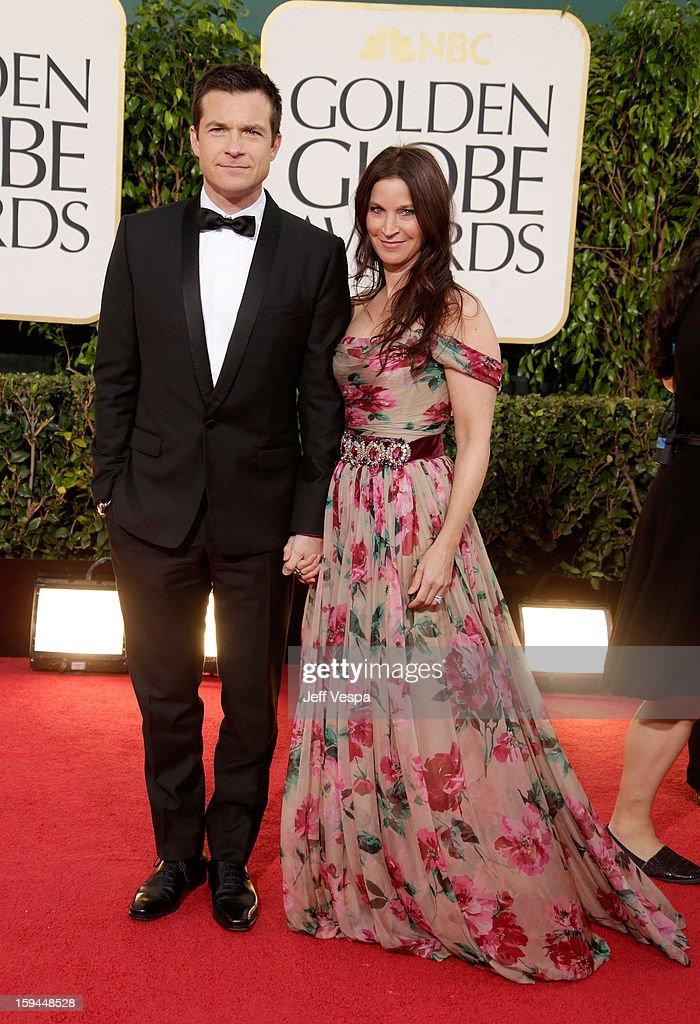 Actor Jason Bateman (L) and wife Amanda Anka arrive at the 70th Annual Golden Globe Awards held at The Beverly Hilton Hotel on January 13, 2013 in Beverly Hills, California.