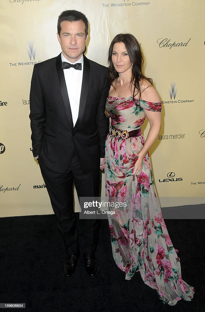 Actor Jason Bateman and wife Amanda Anka arrive for the Weinstein Company's 2013 Golden Globe Awards After Party - Arrivals on January 13, 2013 in Beverly Hills, California.