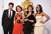 Actor Jason Bateman filmmakers Ellen Goosenberg Kent and Dana Perry with the award for Best Documentary – Short Subject for 'Crisis Hotline Veterans...