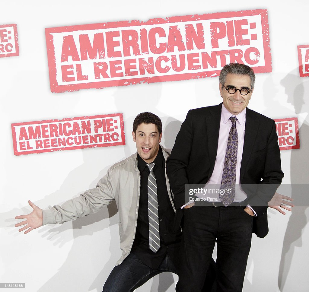US actor Jason Biggs and actor Eugene Levy attend 'American Pie Reunion' photocall at Villamagna Hotel on April 19 2012 in Madrid Spain