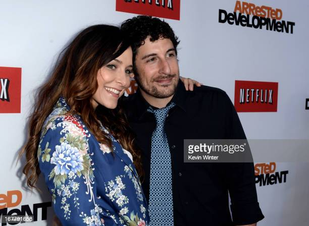Actor Jason Biggs and his wife Jenny Mollen arrive at the premiere of Netflix's 'Arrested Development' Season 4 at the Chinese Theatre on April 29...