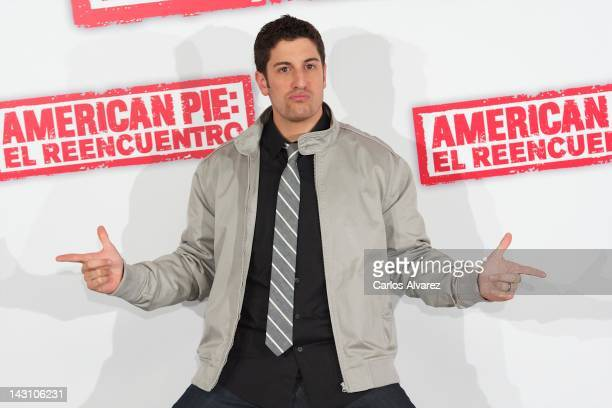US actor Jason Biggs attends 'American Pie Reunion' photocall at Villamagna Hotel on April 19 2012 in Madrid Spain