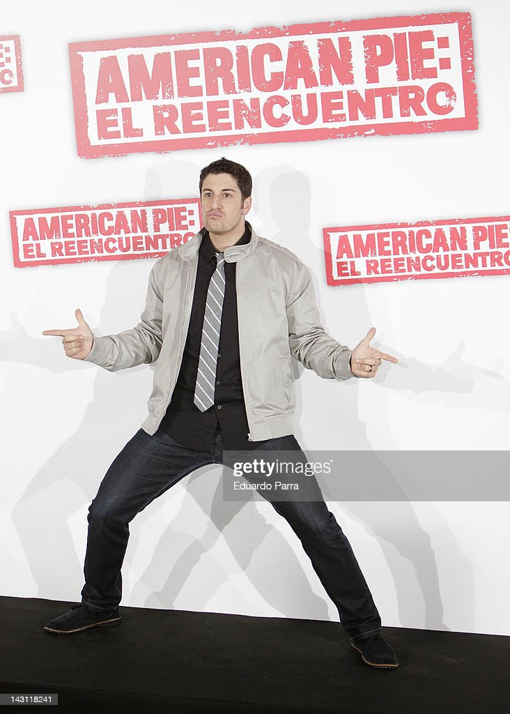 US actor Jason Biggs attends 'American Pie: Reunion' (American Pie: El Reencuentro) photocall at Villamagna Hotel on April 19, 2012 in Madrid, Spain.