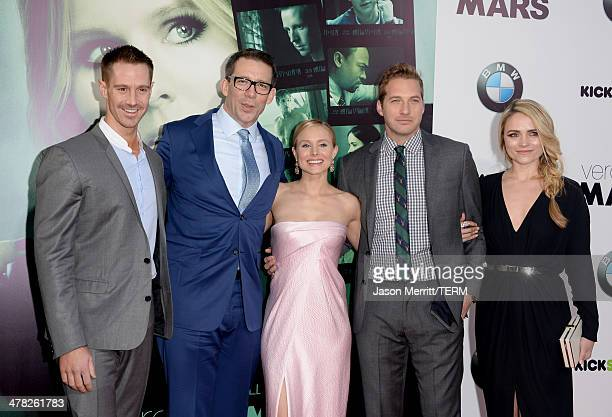 Actor Jason Dohring producer/writer/director Rob Thomas actors Kristen Bell Ryan Hansen and Amanda Noret arrive at the Los Angeles premiere of...