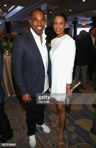 Actor Jason George and actress Kearran Giovanni attend the Family Equality Council's Impact Awards at the Beverly Wilshire Hotel on March 11 2017 in...
